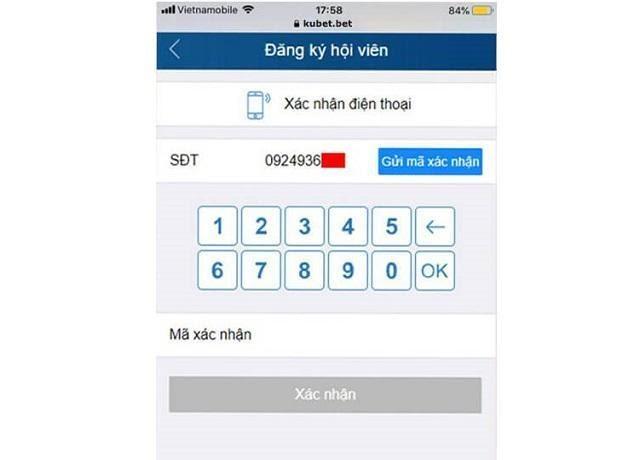 Nhập số điện thoại và mã xác nhận